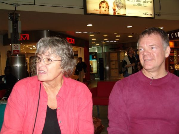 MarySue and Stan at Heathrow.