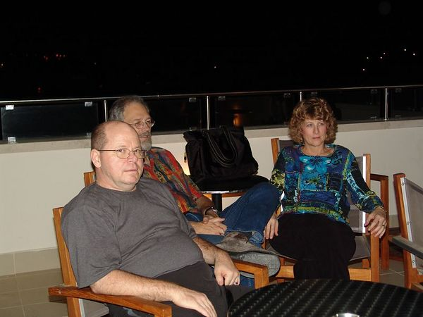 After dinner we went on top of the hotel to see the Parthenon lit up.  Chuck, Gary, Karin.