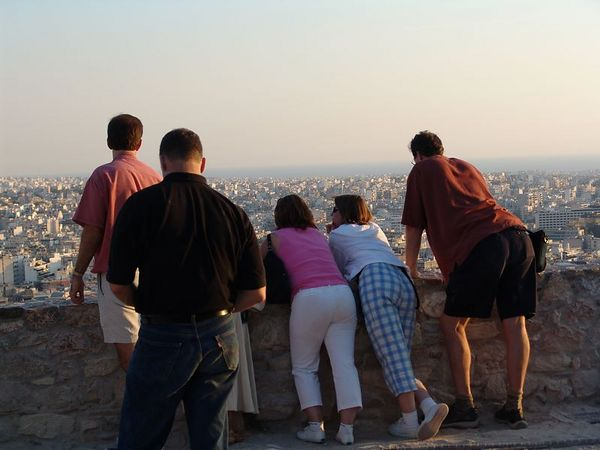 Requisite butt shot.  Overlooking Athens from the Acropolis.