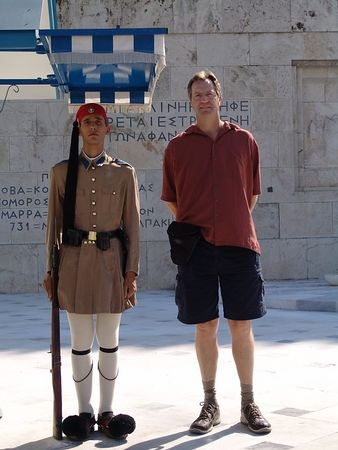 Tim and the guard at the Parliment in Athens.