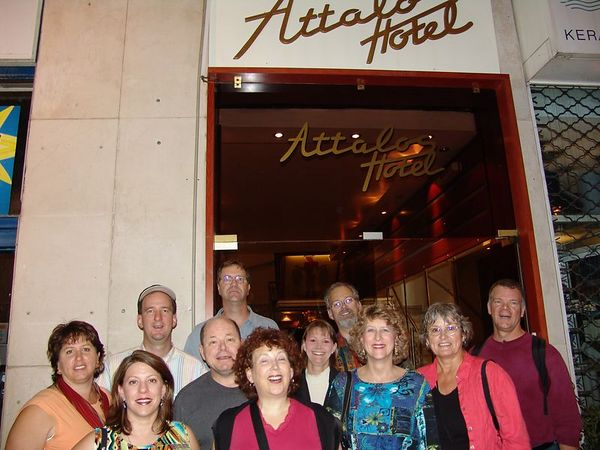 Mostly all of us (this was before we caught up with Dean, Jane, Choon, Chin and Theresa) in front of our hotel in Athens.