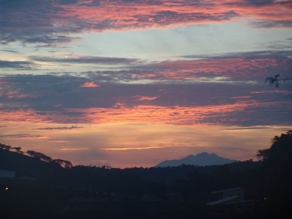 Morning Sunrise.  The mountain in the background is Maravillas.  It's an inactive volcano.