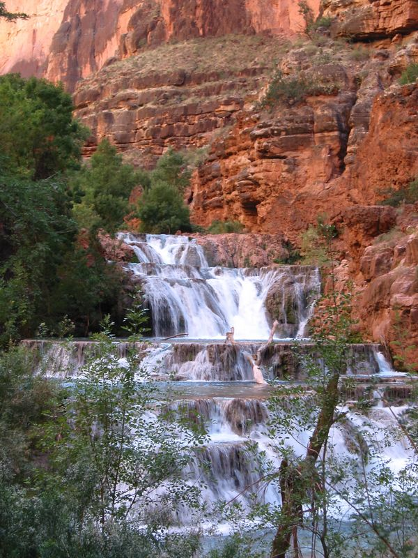 Beaver falls is the last fall in Havasu Canyon before the Colorado River.  During our trip it was a serries of small falls (most less than 10 feet) spread out over several hundred feet.  It is quit a hike from Mooney Falls.