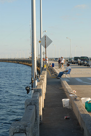 Fisherman on the skyway pier.