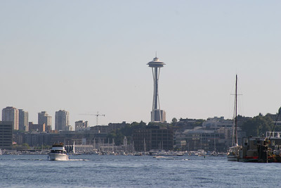 View of the Space Needle after the Duck dropped in Lake Union.