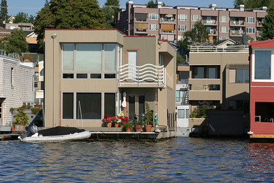 This floating home is reportedly owned by a Microsoft executive.  It has a basement with a view of the lake (as in an aquarium)!
