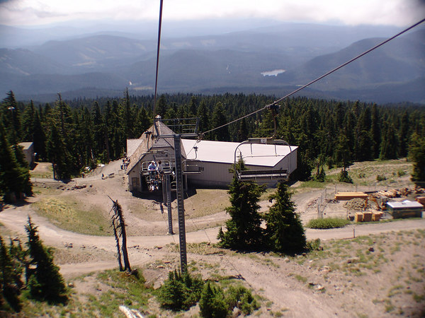"""Riding the summer """"ski lift"""".  Alex and Tiffany are the tiny people back there."""