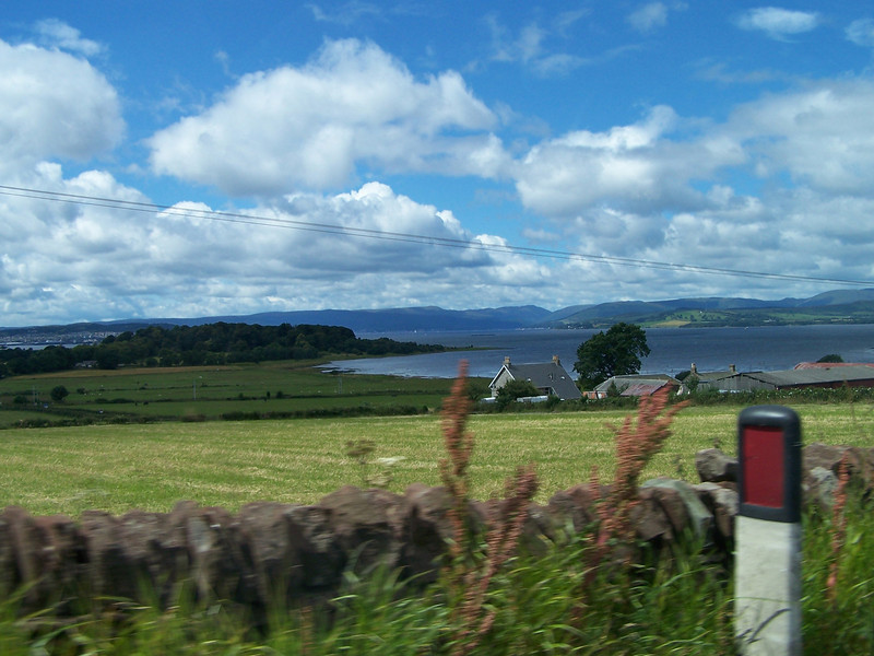 View from car on road to Helensburgh (Scotland)