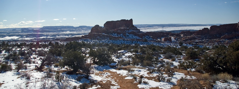 A great hike at Klondike Bluffs in Arches National Park.  All snow in this direction.