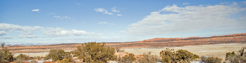 A great hike at Klondike Bluffs in Arches National Park.  No snow in this direction.