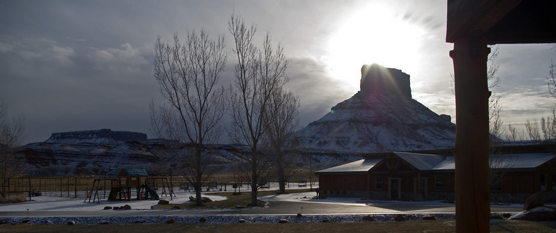 View outside our room (front) at Sorrel River Ranch Resort in east Utah.
