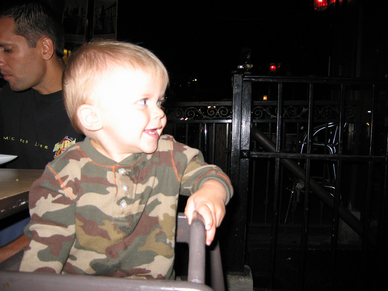 At dinner Friday night.  Owen is entertaining a diner across the way.