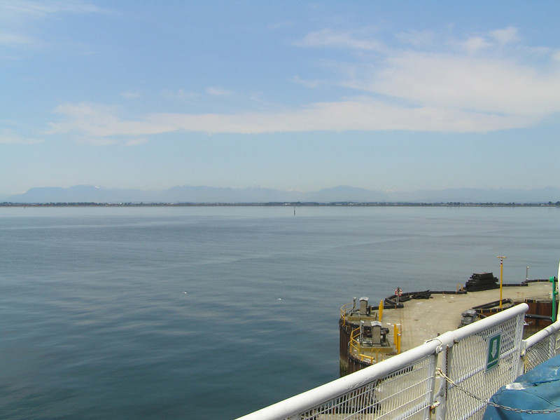 A look back @ the Cascade Mtns. from the deck of the Ferry from the mainland to Victoria Island, Canada