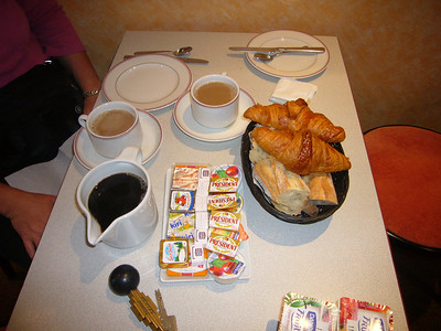 This was le petit dejeuner at the Hotel Monge.  They were very generous and accomodating there.  We'd definitely return.