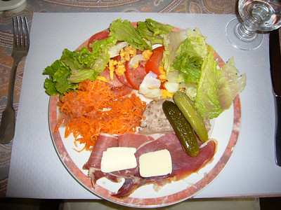 This is what I ordered in the Pyrenees.  Traditional crudites avec charcutrie.  (raw vegetables with cooked meats).  Carrot salads are very popular in France and may be found at almost every deli.