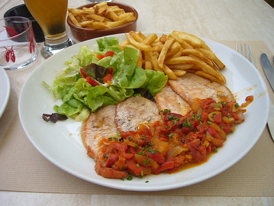 """This is a traditional Basque dish called """"lomo"""" or pork loin with red peppers.  Very tasty."""