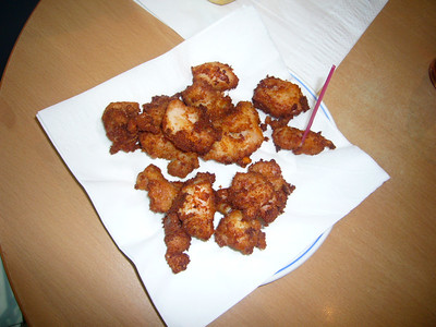 These were chicken nuggets in San Sebastian, Spain (ordered for Kari).  She didn't like the seasoning -  I did.  :-)