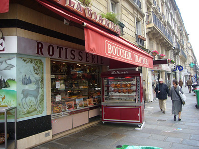 Poulet roti at one of the many butchers in Paris.  This was located on the Rue Monge, one block from our hotel.  Walking by this, I had to exercise my willpower in not purchasing a chicken.