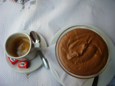 I splurged the last day and had chocolate mousse and a double cafe.  Big mistake - I was up half of the night loaded on caffeine.
