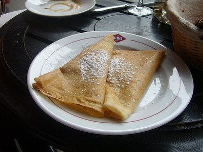 Crepes with nutella inside.  Cafe Delmas is in the Rue Mouffetard