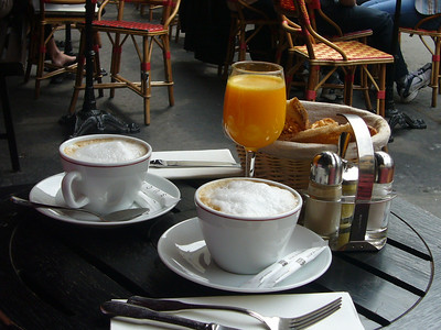 le petite dejeneur.  (coffee,, oj + bread)  - french breakfast.