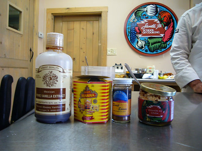 Some of the ingredients that Daniel used.  He strongely suggested that we use good vanilla and Mexican vanilla is among the best.  The Ibarra is Mexican chocolate.  It comes in discs that you can break apart.  He suggested using Santa Fe sweet spice in place if cinnamon (it also contains cloves and alspice).  The chipotle en adobe can be added to many New Mexican dishes.