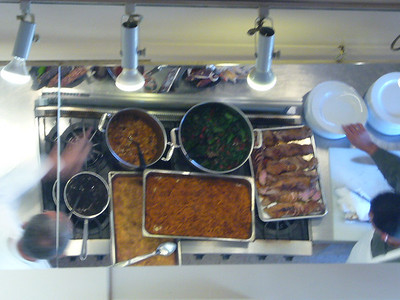 All the dishes that we would eat that day.  Noe sliced the pork tenderloin.  Bon Appetit!