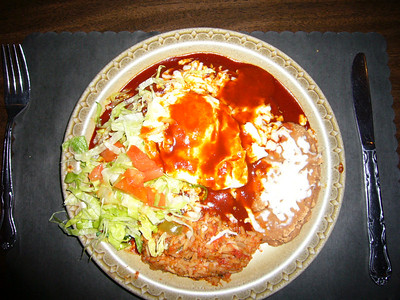 And finally, our last meal in New Mexico.  Two flat cheese enchiladas with an egg on top at Cervantes in Albuquerque.