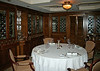 Part of the restaurant has the original paneling from the dining room on the RMS Olympic, the sister ship of the Titanic.