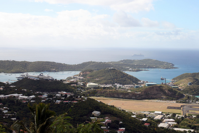 While we were at St. Thomas we took a shore excursion called The Best of St. Thomas. It was basically a bus ride around the island with several opportunities to take pictures. This picture shows the end of the runway of the airport to the right and our ship to the left.