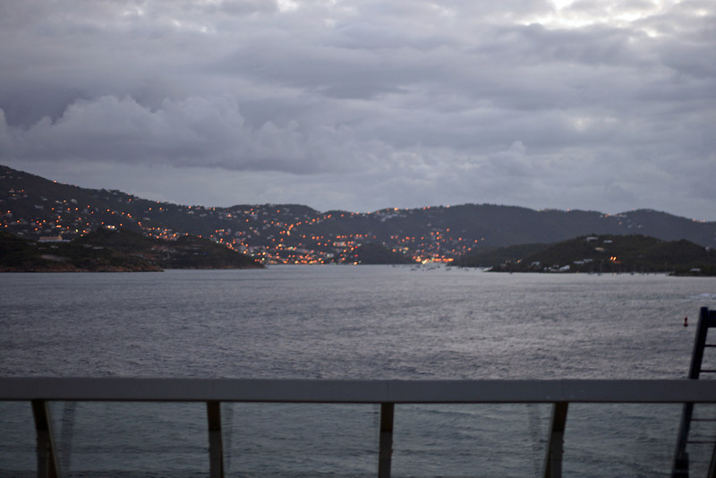 On the fourth day of our cruise we visited St. Thomas. We arrived at 7AM so it was still fairly dark and the lights of the city looked like little fireflies.