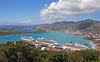 Looking down from the top of the Paradise Point tramway ride to the harbor at St. Thomas. If you look at the red smokestack on the third ship at the Havensight pier, and then look up a little, you can see our ship in the distance. That's where the Crown Bay pier is located.