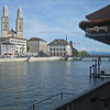 Zurich, Switzerland.  Stopping for a refreshment at a cafe along the river.