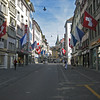 A quiet street in downtown Zurich, Switzerland.