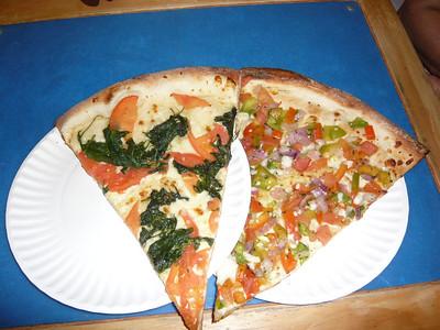 L - Fresh spinach and mushroom R - Bruschetta
