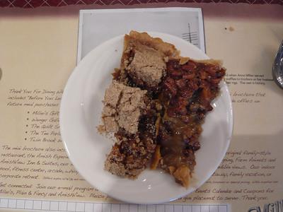 shoefly pie and chocolate pecan pie