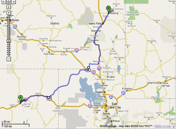 More desert thru Nevada and Utah...  373 mi – about 6 hours 34 mins