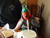 Chili tries the shake.