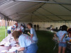 The action at the registration tent.