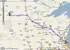Google Maps shows the way. First day's ride ending at Bismarck, ND.<br /> As mapped, 785 mi – about 12 hours 21 mins.