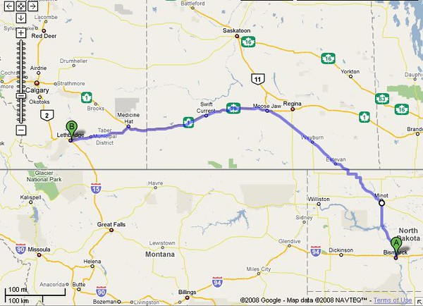According to Google Maps, another long day in the saddle.... 718 mi – about 12 hours 46 mins.