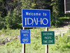 """""""Welcome to Idaho"""" to the west."""