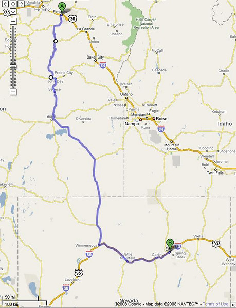 541 mi – about 10 hours 7 mins; going thru the Pacific Northwest high desert.