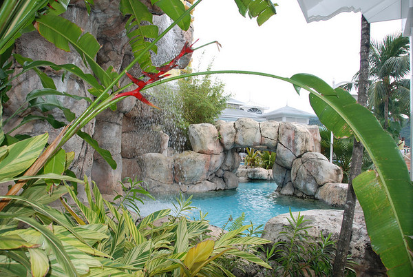 The pool grotto.