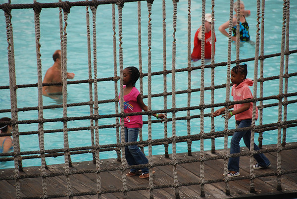 Jumping on the bridge- water aerobics in the background