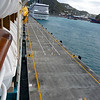the long cruiseship dock at St Maarten - it holds 4 of the largest ships