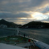coming into St Maarten at sunrise...view from our cabin