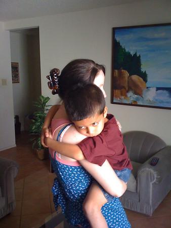 Shane gives Michele a good bye hug.