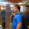 looking at a model of the tallest twin buildings in the world