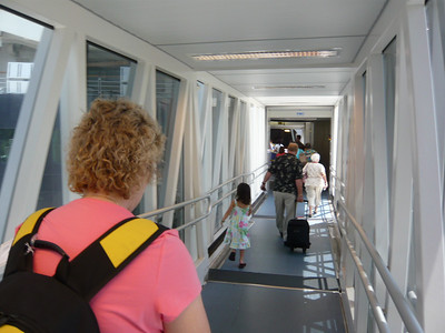 Boarding the Westerdam.  Kari is obviously in a hurry!